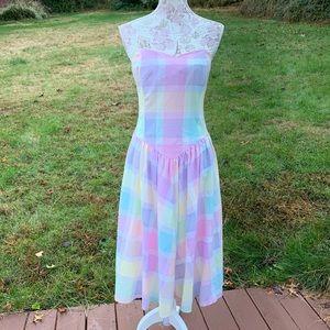 Vintage Betsy's Things Raonbow Plaid Dress